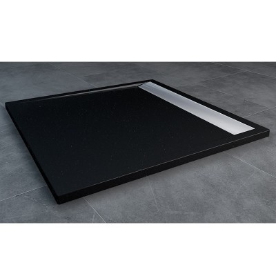 Sanswiss Ila brodzik kwadratowy 80x80 cm czarny granit WIQ08050154