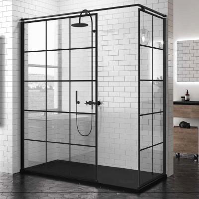 Novellini Kuadra H+H kabina prostokątna walk in 120x80 cm Square czarna