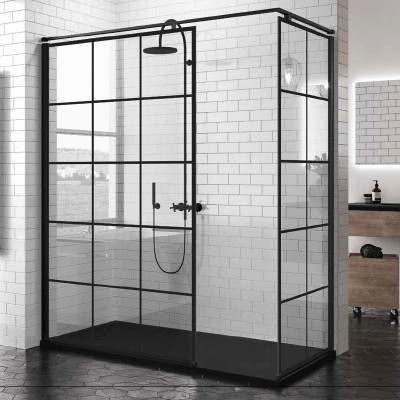 Novellini Kuadra H+H kabina prostokątna walk in 160x90 cm Square czarna
