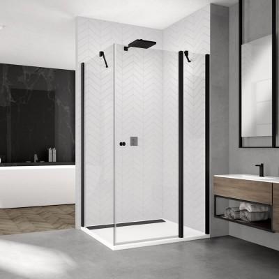 Sanswiss Solino kabina prostokątna 90x70 cm drzwi ze ścianką czarna