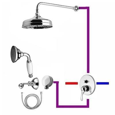 Monoclasic kompletny zestaw prysznicowy deszczownica 20 cm + słuchawka z uchwytem retro