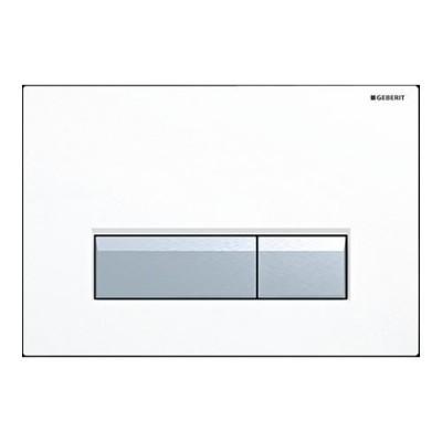 Geberit Sigma 40 przycisk spłukujący do WC z odciągiem białe/szczotkowane aluminium115600KQ1