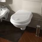 Kerasan Retro deska WC wolnoopadająca biała zawiasy stare złoto 108401