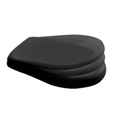 Kerasan Retro deska WC wolnoopadająca czarna zawiasy chrom 108804