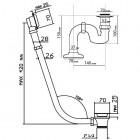 Vicario przelew wannowy retro 12R + korek + syfon
