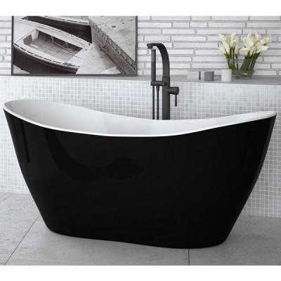 Besco Viya wanna wolnostojąca 160x70 cm czarna/biała