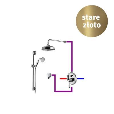 Giulini Giovanni Hermitage kompletny zestaw prysznicowy deszczownica + zestaw natryskowy retro stare złoto GG3HEB