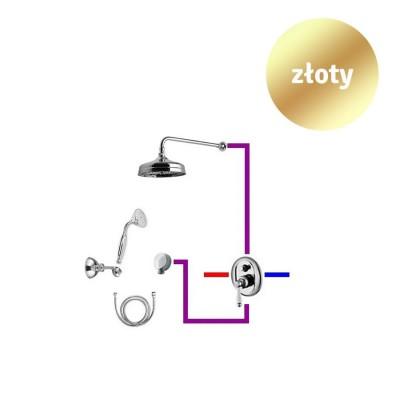 Giulini Giovanni Hermitage kompletny zestaw prysznicowy deszczownica + słuchawka retro złoty 44ZES20ZŁ
