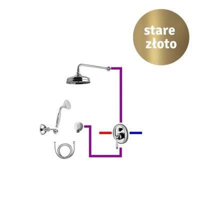 Giulini Giovanni Hermitage kompletny zestaw prysznicowy deszczownica + słuchawka retro stare złoto 44ZES20B
