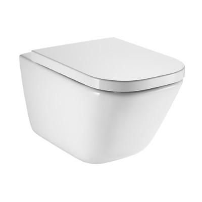 Roca Gap Square miska WC wisząca Rimless z deską WC wolnoopadającą A34H47C000