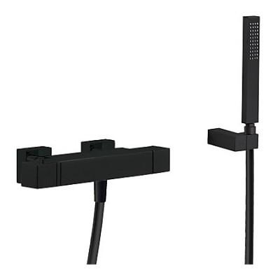 Tres Slim Exclusive bateria wannowa termostatyczna + słuchawka czarna
