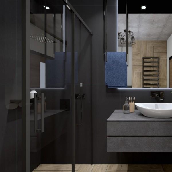 Czarna łazienka z prysznicem- jaką kabinę wybrać