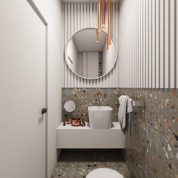 Toaleta z płytkami lastryko!