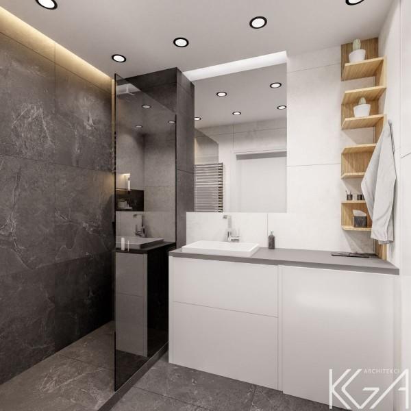 Czarno- biała, mała łazienka