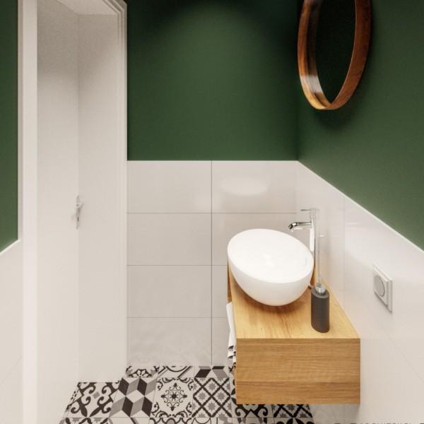 Mała toaleta z płytkami patchworkowymi