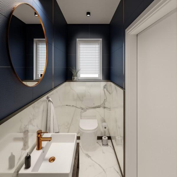 Granatowa toaleta z płytkami marmuropodobnymi!