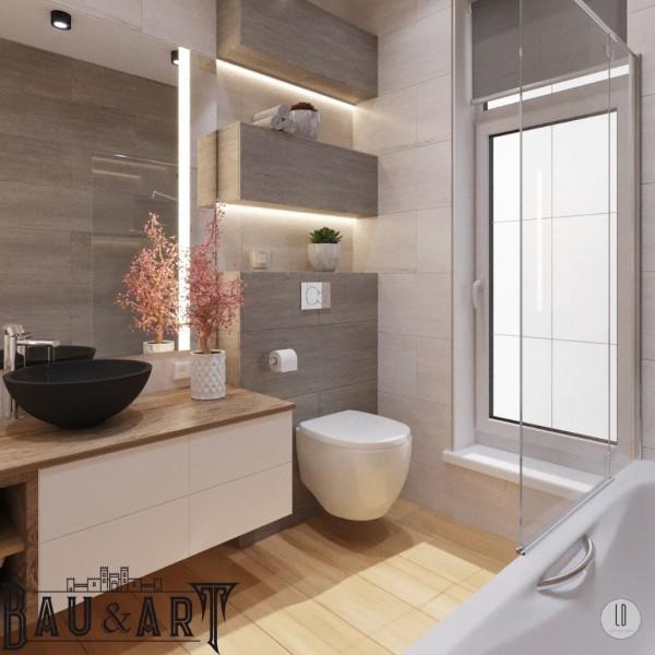 Projekt dużej łazienki z oknem oraz wanną z parawanem!
