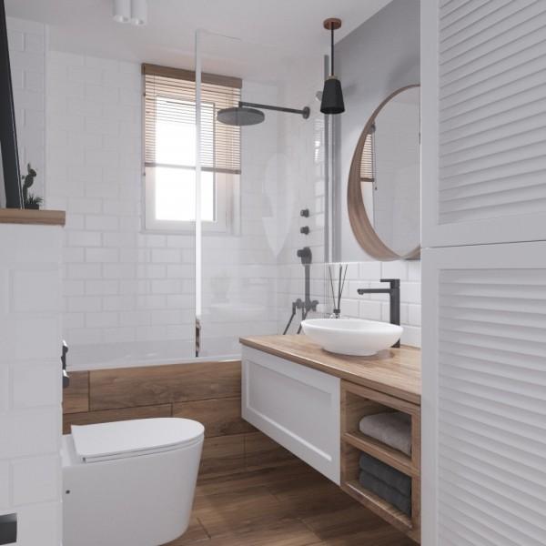 Projekt małej łazienki z wanną z parawanem!