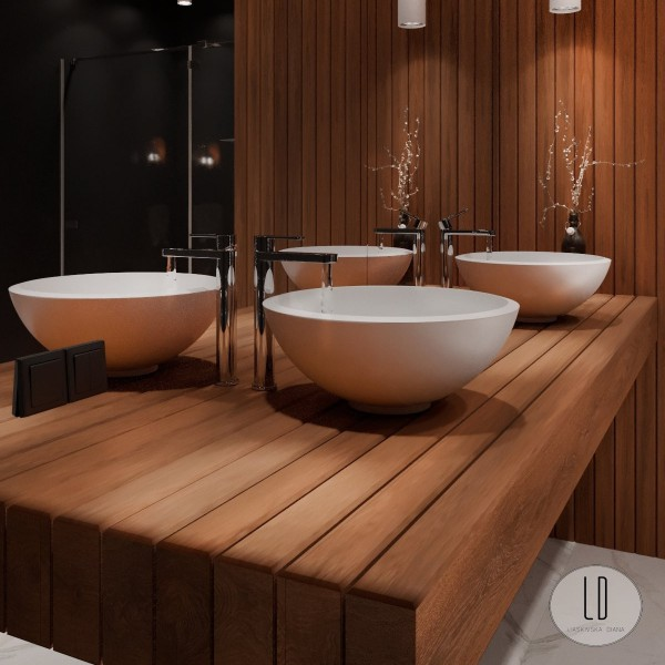 Czarna duża łazienka z wanną wolnostojącą i drewnianym blatem