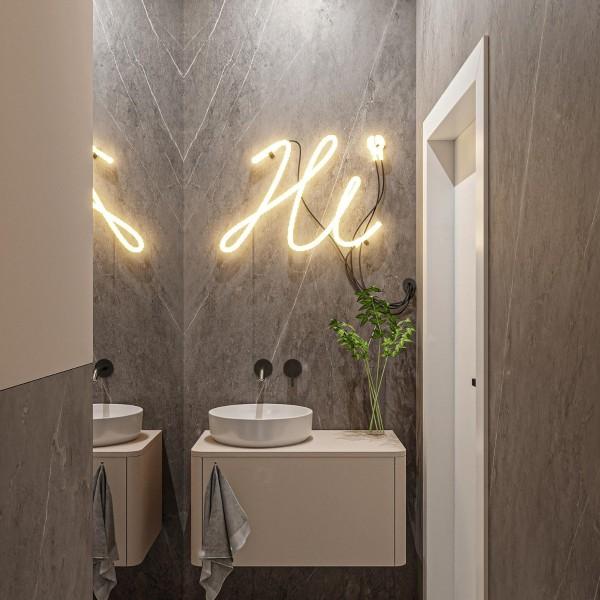 Toaleta dla gości w odcieniach szarości