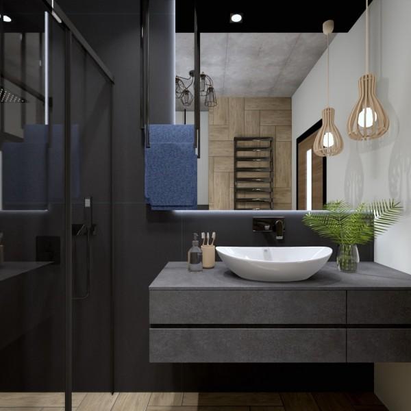 Czarna łazienka z płytkami drewnopodobnymi