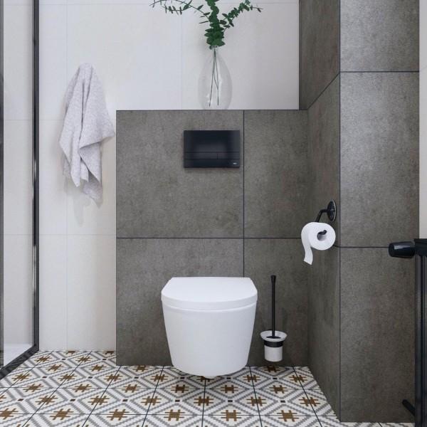 Biało-szara łazienka w bloku z wzorzystymi płytkami na podłodze