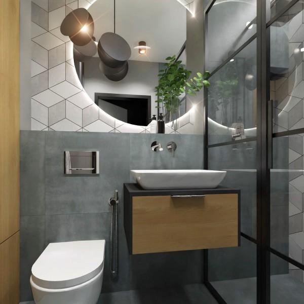 Mała łazienka w betonie