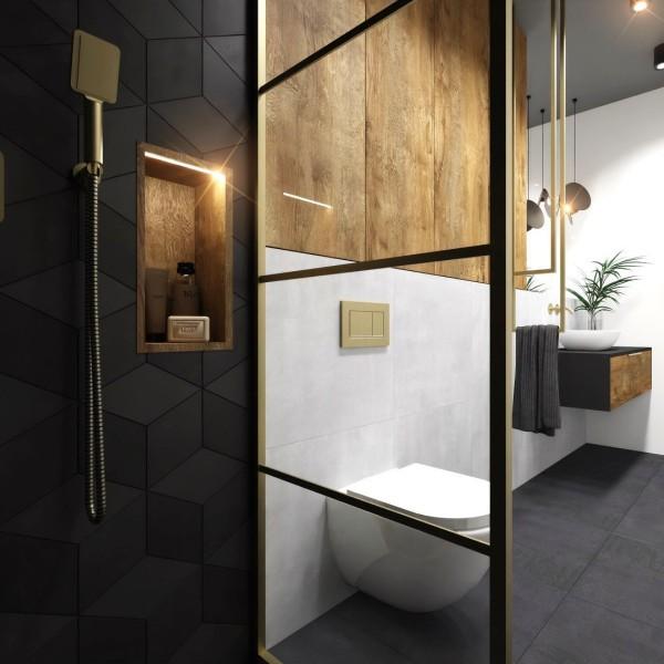 Złota łazienka z kabiną walk-in