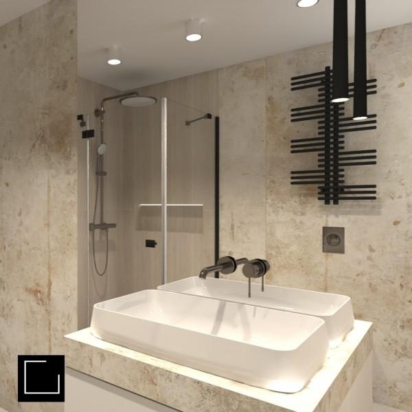 Beżowa łazienka z oknem i prysznicem