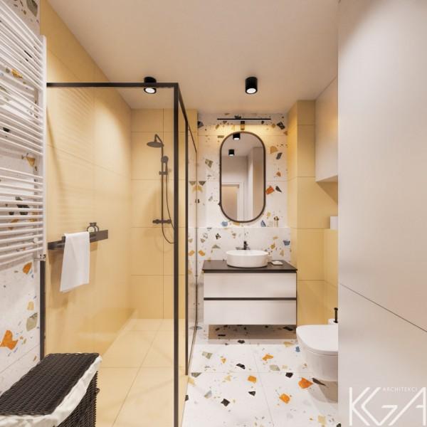 Kolorowa łazienka z płytkami lastryko