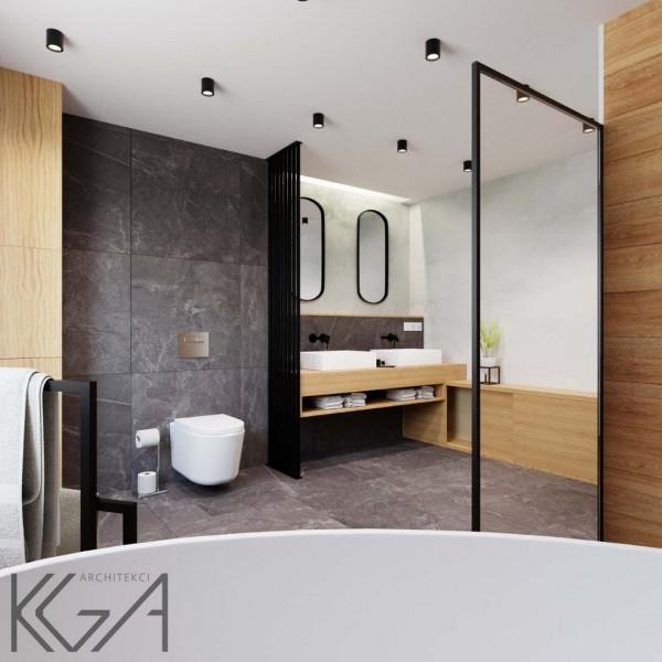 Projekt łazienki z czarnym marmurem i drewnem oraz wanną wolnostojącą!