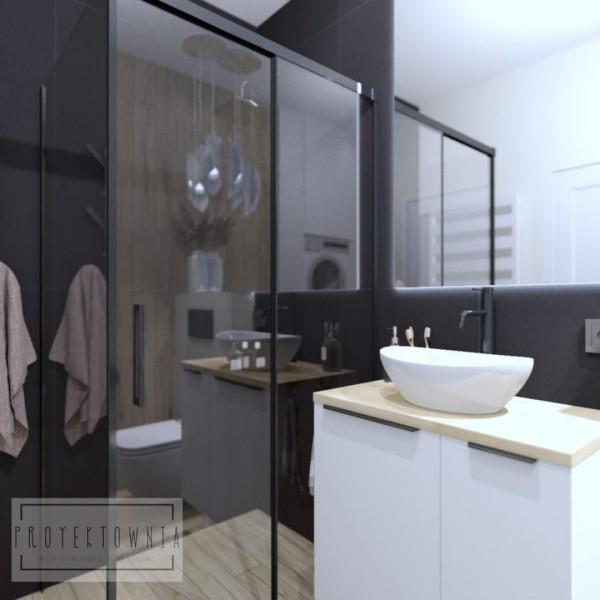 Mała łazienka z kabiną i zabudową meblową na pralkę i suszarkę!