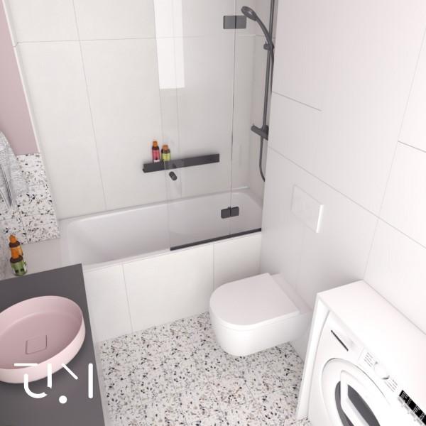 Różowa - mała łazienka z wanną z parawanem!
