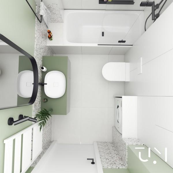 Zielona - mała łazienka z wanną z parawanem!