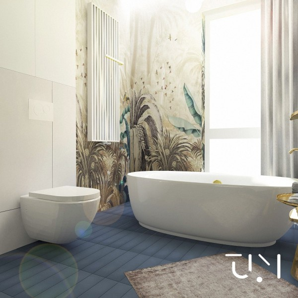 Duży pokój kąpielowy z wanną wolnostojącą i prysznicem!