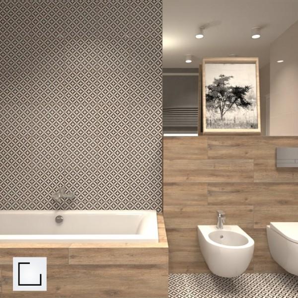 Duża łazienka z wanną i płytkami drewnopodobnymi!