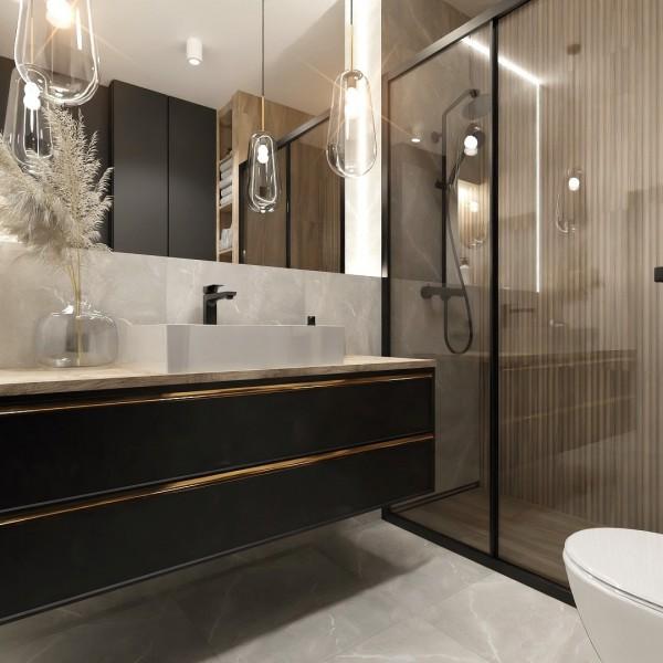 Mała łazienka z czarną kabiną w stylu skandynawskim!