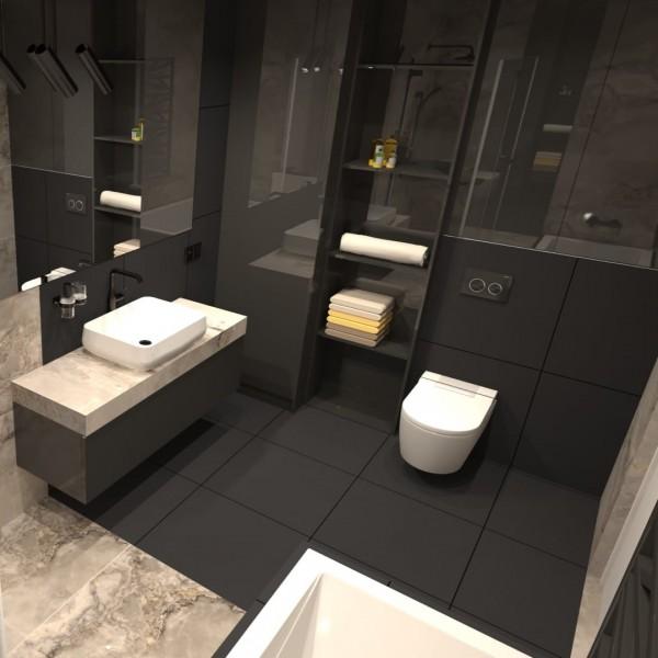 Duża łazienka z wanną i prysznicem w kolorach czerni i beżu!