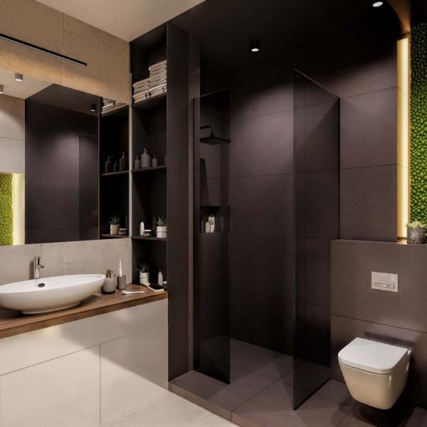Beżowa łazienka z czarnym prysznicem!