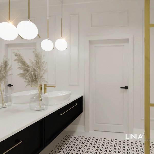 Łazienka w stylu Art Deco ze złotym prysznicem walk-in!