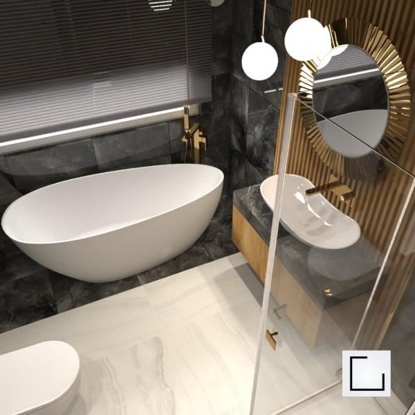 Łazienka na poddaszu z wanną wolnostojącą i prysznicem