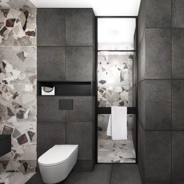 Czarna łazienka z dużą strefą prysznicową!