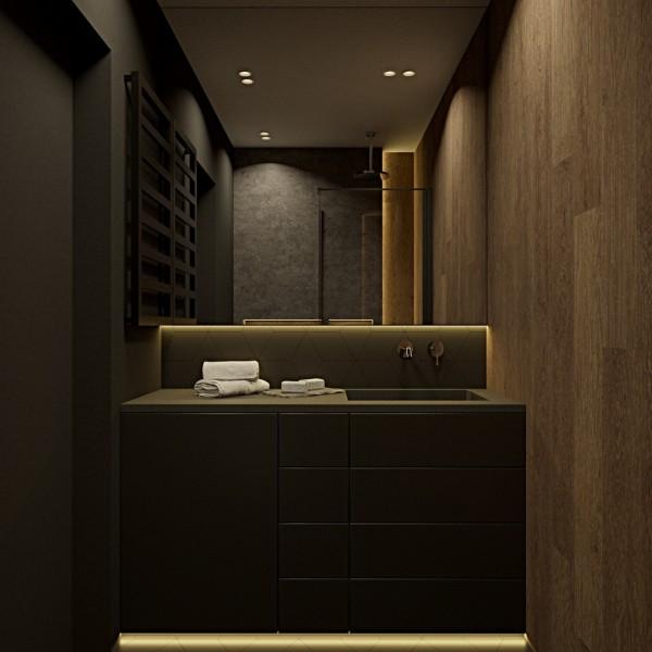 Mała czarna łazienka z czarnym prysznicem!