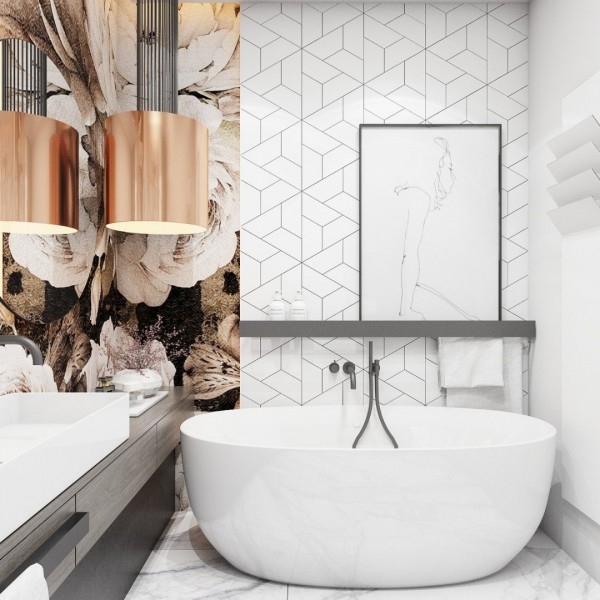 Biała łazienka z motywem kwiatowym na głównej ścianie!
