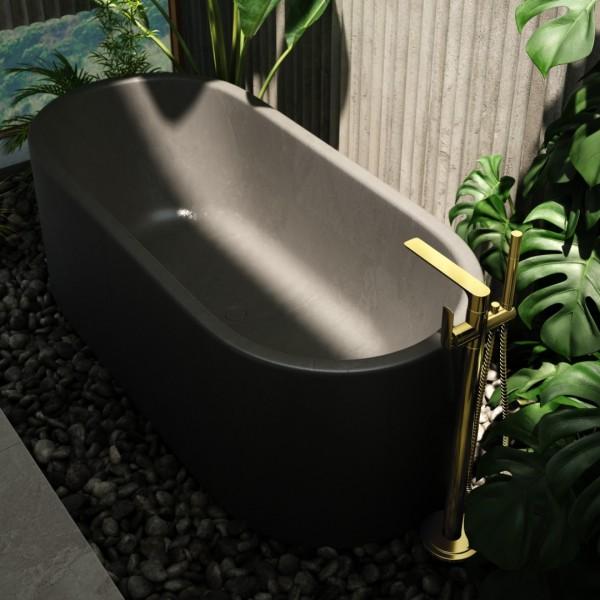 Inspiracje łazienkowe ze złotymi bateriami łazienkowymi Kohlman Experience Gold!