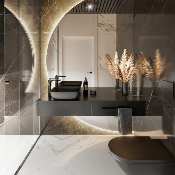 Czarna łazienka dla gości z prysznicem!