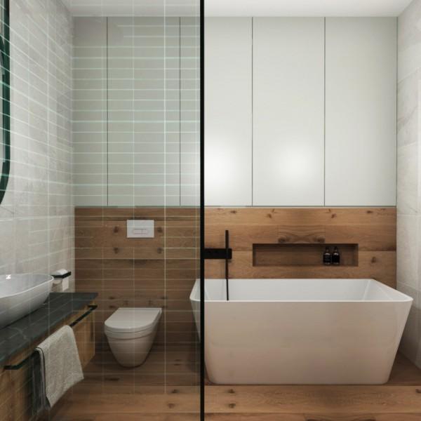 Nowoczesna łazienka z płytkami drewnopodobnymi!