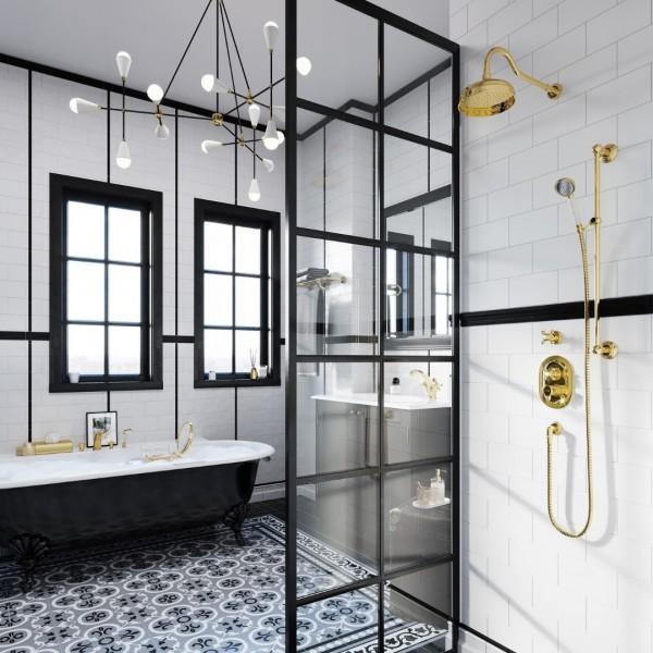Inspiracje łazienkowe ze złotymi bateriami łazienkowymi Kludi Adlon!