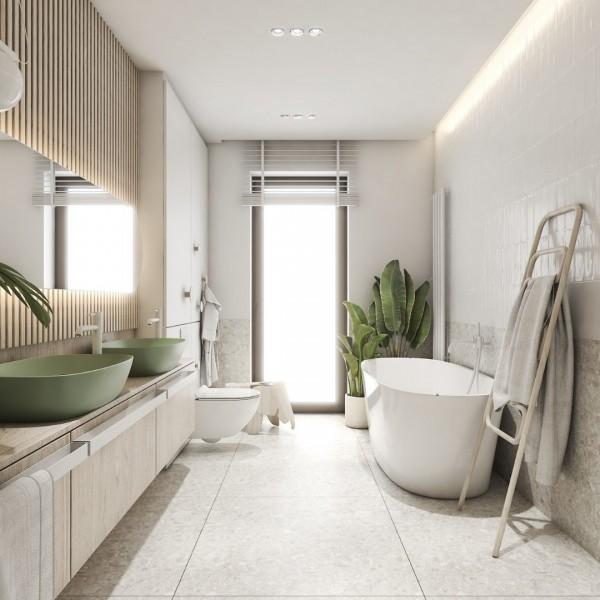 Łazienka w odcieniach natury z wanną i prysznicem!