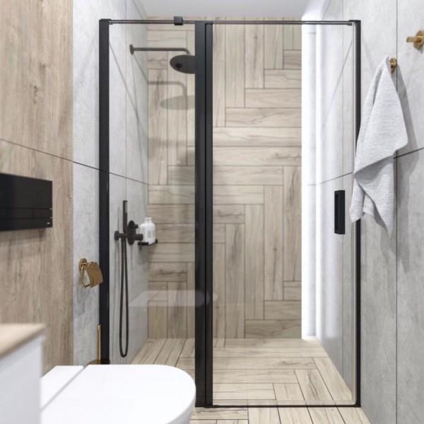 Mała łazienka w stylu skandynawskim z czarną kabiną!